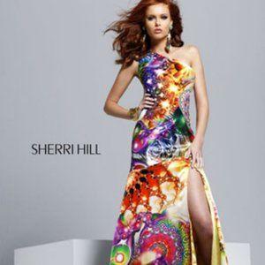 Sherri Hill Exotic Rainbow One Shoulder Dress